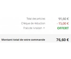 Réduction de 15€ dès 70€ d'achat