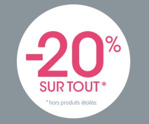 20% de remise sur tout hors produits étoilés