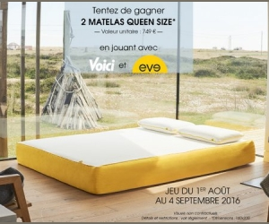voici 2 matelas queen size eve jeux concours. Black Bedroom Furniture Sets. Home Design Ideas