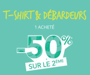 1 t-shirt ou débardeur acheté = -50% sur le deuxième !