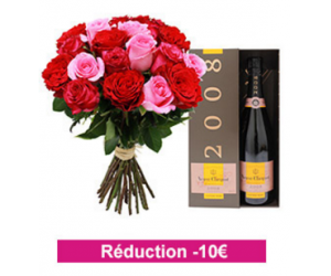 10€ de remise sur le bouquet + bouteille de champagne