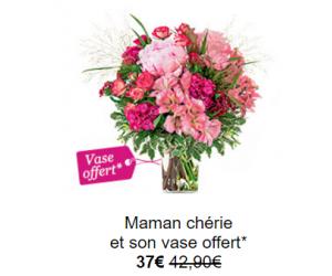Vase design offert avec le bouquet de fleurs roses !