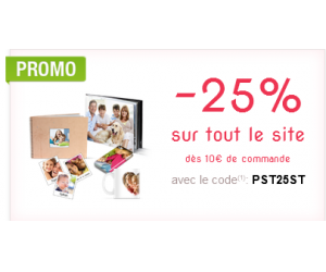 25% de remise sur tout le site