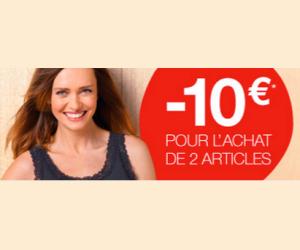 10€ de remise pour l'achat de 2 articles