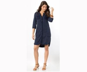 Robe chemise manches longues, tencel et denim pour 107€25