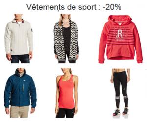 20% de remise sur les vêtements de sport