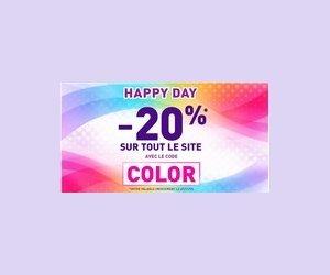Happy day avec 20% de réduction sur tout le site