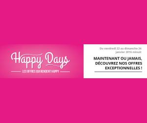 Offre Happy Days avec réductions jusqu'à 75%
