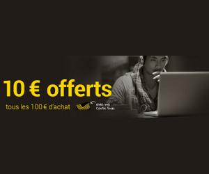 10€ à gagner en échange d'un panier de 100,00€