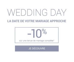 Prix en baisse de 10% sur une tenue de mariage complète