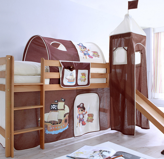 bon plan le lit toboggan toby pirates marron beige ticaa. Black Bedroom Furniture Sets. Home Design Ideas