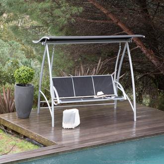 Bon plan 20 de ristourne sur la balancelle design 3 places aluminium et acier toit vague - Balancelle de jardin en aluminium ...