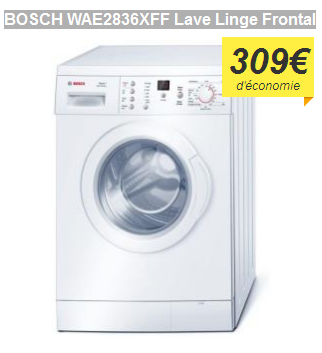 bon plan le lave linge frontal bosch wae2836xff expos 289 99 chez cdiscount. Black Bedroom Furniture Sets. Home Design Ideas