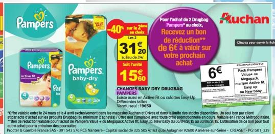 Auchan bon plan pampers offre de remboursement - Promo couche pampers auchan ...