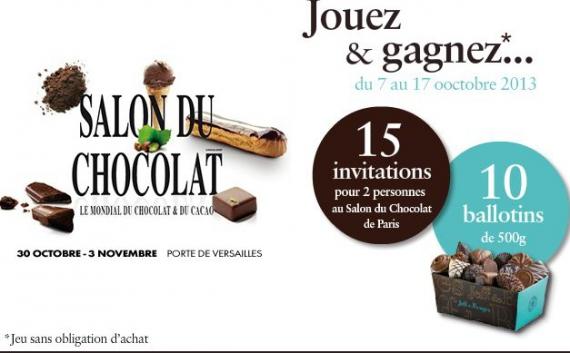 Jeff de bruges ballotins de chocolat jeux concours - Invitation gratuite salon du chocolat ...