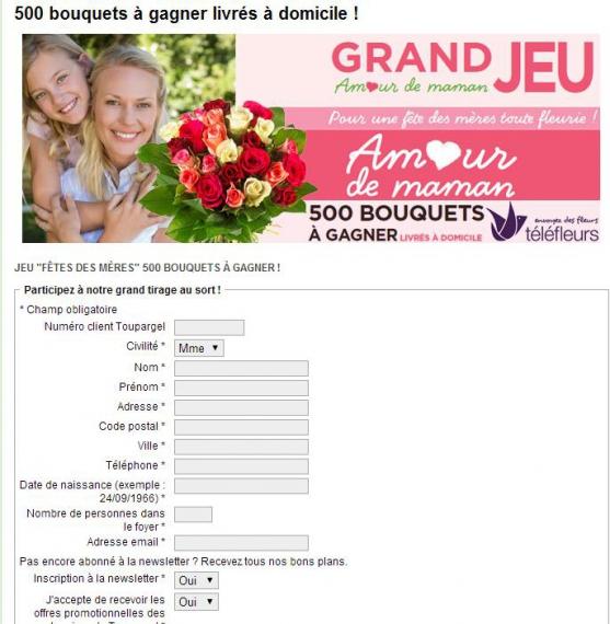 Toupargel 500 bouquets de fleurs concours en ligne for Fleurs livres a domicile