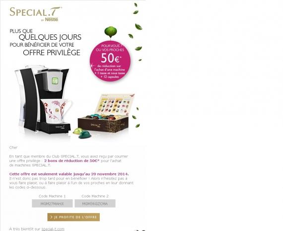 50 de reduction nestl special t code promo. Black Bedroom Furniture Sets. Home Design Ideas