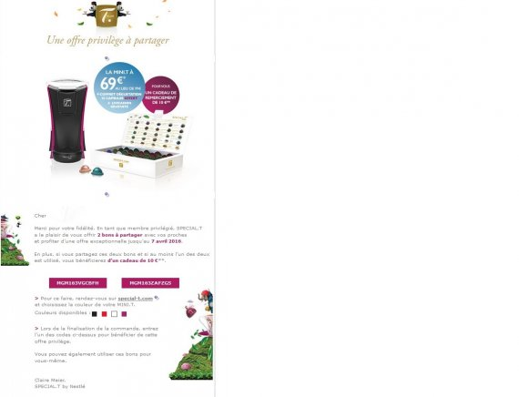code promo special t 69 au lieu de 99 code promo. Black Bedroom Furniture Sets. Home Design Ideas