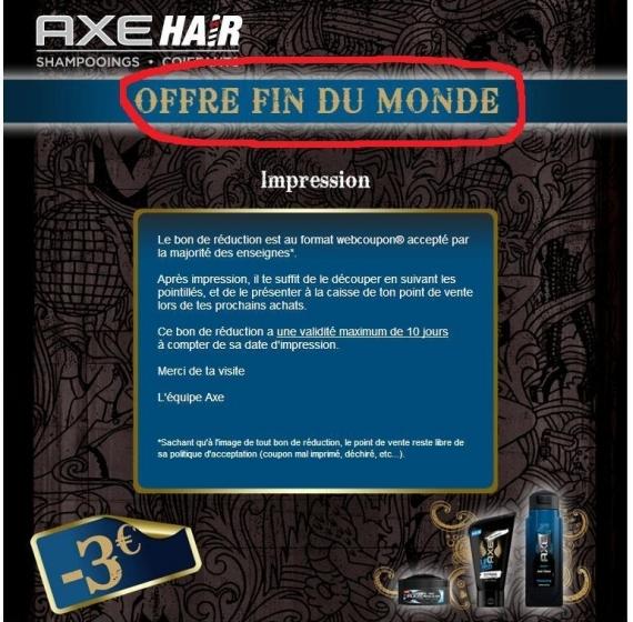 Vite 1000 Bons 3 Euros Shampoing Axe Bon De Reduction A Imprimer